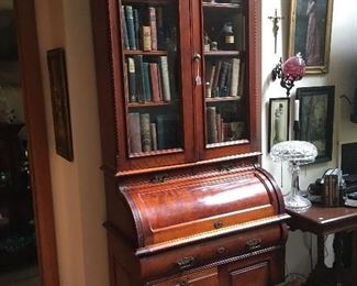 Large antique secretary barrel roll top
