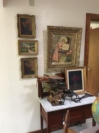 Artwork, antique furniture, antique scales