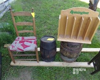 2 Wooden Kegs, Remington knife display, Period Chair