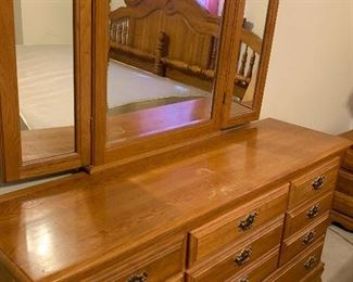 Includes King Bed (headbd - footbd - rails - and slats I believe), Dresser, and 2 night stands