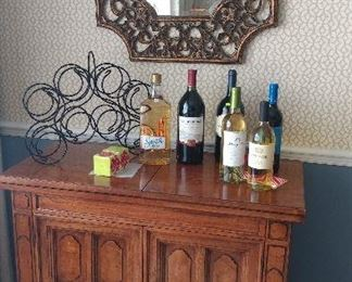 Bar cabinet with top that opens