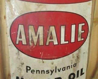 1950's Metal 5' Amalie Motor Oil Sign