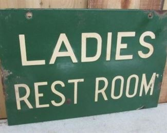 "12"" Porcelain Double Sided Ladies Rest Room Sign"