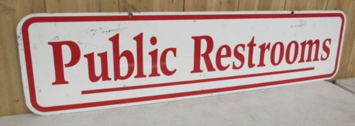 "48"" Metal Double Sided Public Restrooms Sign"