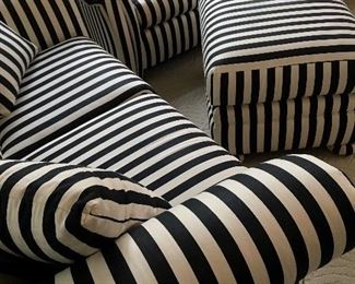 Let's Start With The Quality Furniture...We have Waiting For You this Fab 3pc Striped Fine Design Sofa, Loveseat and Ottoman...