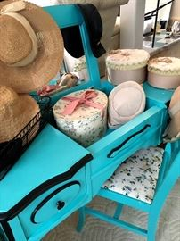 Would You Look At This Adorable Painted dressing Table...Wait...Are Those Vintage Hats??...