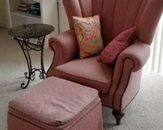 Matching Henredon wing chairs & ottomans; down-filled