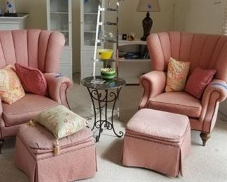 Henredon wing chairs with ottomans - two available; down-filled
