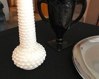"Hob nob milk glass vase. Black Amethyst glass ""Dancing Nymphs""."