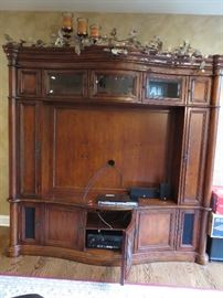 This entertainment center comes in 3 pieces for easy removal.