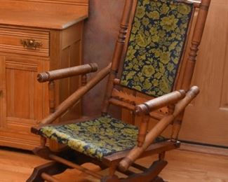 Antique Turned Wood Rocking Chair / Glider