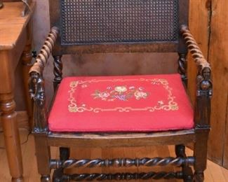 Antique Wood Carved Armchair with Rush Back & Needlepoint Seat
