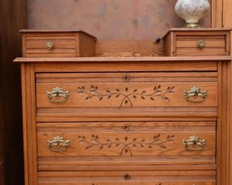 Antique Oak Chest of Drawers (Leaf / Branch Detail on Drawers)