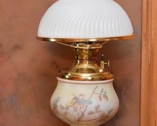 Hurricane Table Lamp with Milk Glass Shade