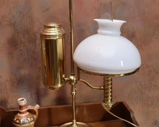 Brass Desk Lamp with Milk Glass Shade