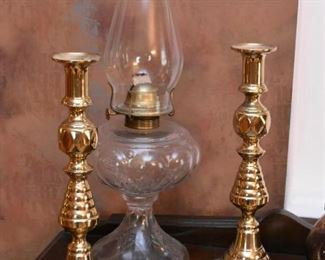 Brass Candlesticks, Clear Glass Oil Lamp