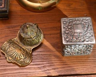 Brass Inkwell, Metalware Trinket Box