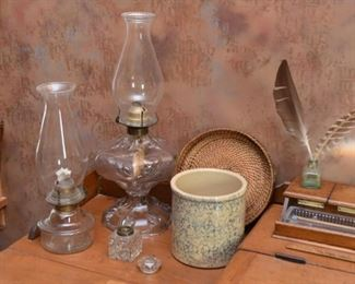 Oil Lamps, Spongeware Crock, Ink Bottles