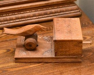 Wooden Folk Art Box with Bird