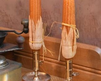 Candlesticks with Corn Cob Candles