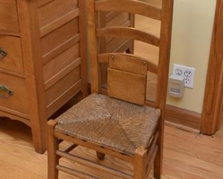 Pair of Antique Prayer Chairs with Rush Seats
