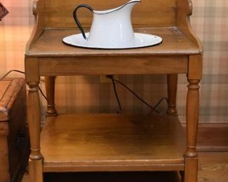 Antique Washstand with Enamelware Pitcher & Bowl