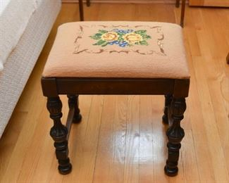 Antique Stool with Needlepoint Seat