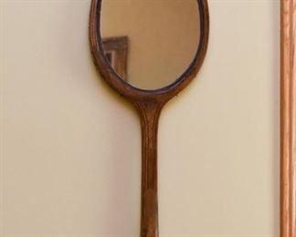Old Wooden Tennis Racket Wall Mirror