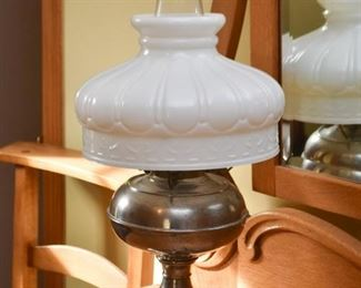Oil Lamp with Milk Glass Shade