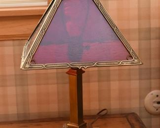 Brass Table Lamp with Red Glass Shade