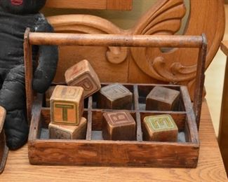 Primitive Wood Trug / Alphabet Blocks