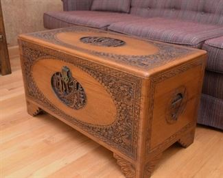 Oriental / Asian / Chinese Wood Carved Trunk / Chest