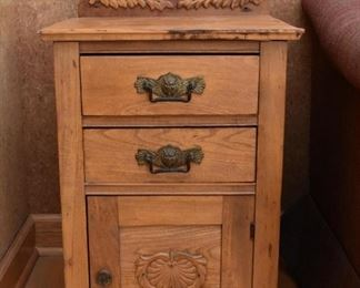 Antique Oak Bedside Table / Washstand / Commode