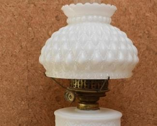 Hurricane Oil Lamp with Ornate, Sculptural Brass Base & Milk Glass