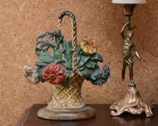 Cast Iron Flower Basket Doorstop