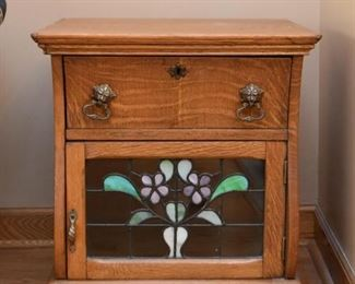 Antique Oak Side Table with Stained Glass Door