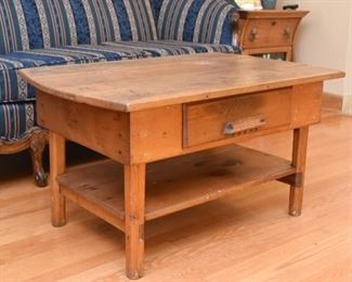 Primitive Wood Coffee Table with Drawer