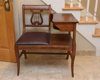 Vintage Telephone Bench / Table (Harp Style Back)