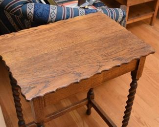 Antique Oak Occasional Table with Barley Twist Legs
