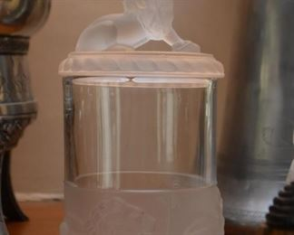 Frosted & Clear Glass Canister (Lion Motif)