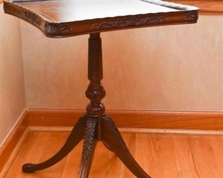 Leather Top Parlor Table with Carved Details