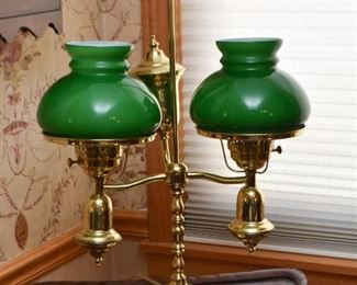Brass Double Hurricane Table Lamp with Green Shades