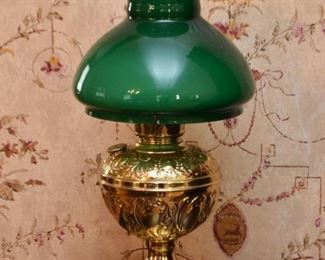 Brass Hurricane Table Lamp with Green Glass Shade