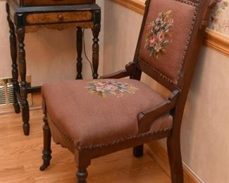 Antique Victorian Parlor Chair with Needlepoint Seat & Back