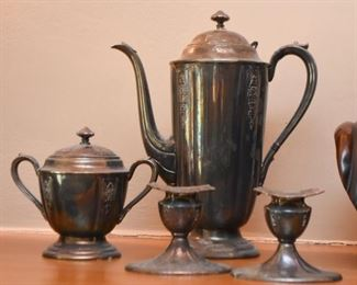 Silver Plate Coffee Pot, Sugar Bowl & Candlesticks