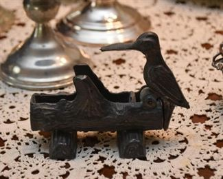 Cast Iron Woodpecker Toothpick Holder