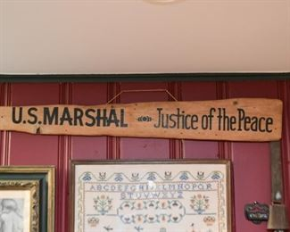 Wooden Sign - U.S. Marshal / Justice of the Peace