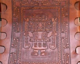 Vintage Wooden Chair / Seat with Tooled Leather (Aztec / Mayan Theme)
