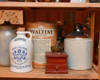 Stoneware Jugs & Crocks, Vintage Ovaltine Tin, Red Coffee Grinder