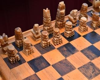 Chess Board with Stone Carved Pieces